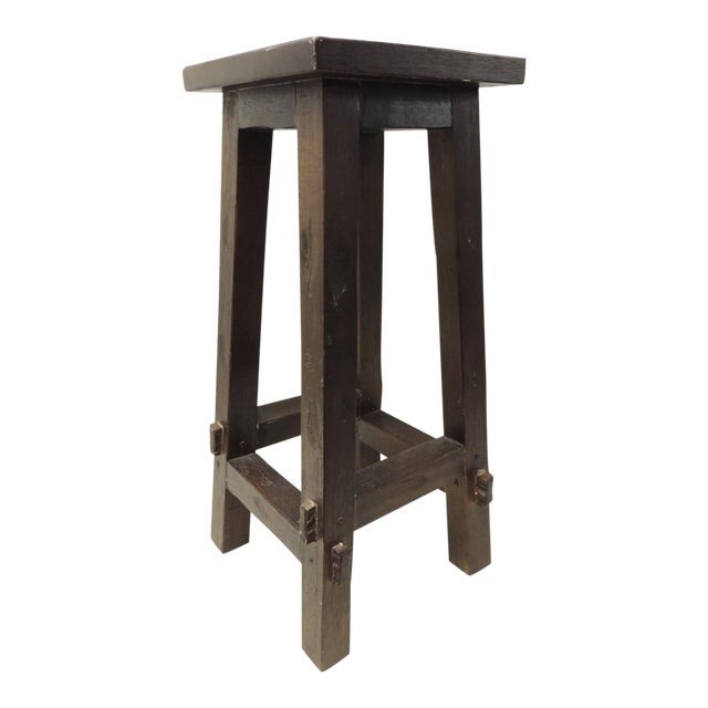 Vintage Arts and Crafts Tall Wood Pedestal - Image 1 of 5
