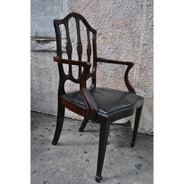 Mahogany English Hepplewhite Style Chairs- Set of 12 For Sale - Image 4 of 13