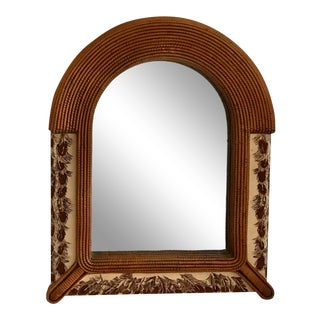 1970s Natural Woven Wall Mirror With Feather Fabric For Sale