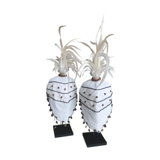 Tribal Decorative White Hat on Stand - Set of 2 For Sale
