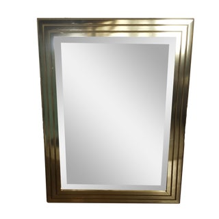 Mid Century Brass Tubular Stacked Op Art Beveled Mirror For Sale