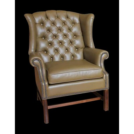 Awesome 1920S American Library Tufted Leather Wing Chair Spiritservingveterans Wood Chair Design Ideas Spiritservingveteransorg
