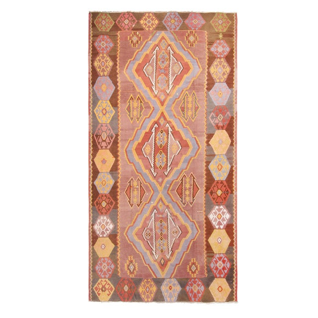 """Blue 1930s Vintage Mid-Century Geometric Pink and Yellow Wool Kilim Rug-7'3'x13'10"""" For Sale - Image 8 of 8"""