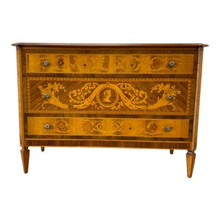 Italian Neo-Classical Marquetry Chest of Drawers Commode For Sale