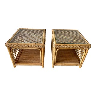 1970s Boho Chic Rattan Glass Top Side Tables - a Pair For Sale