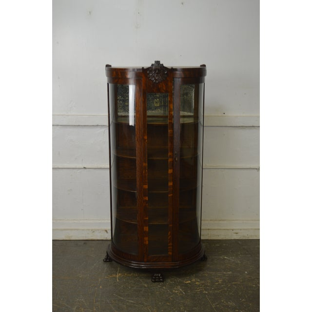 Unusual Antique Oak Bow Glass Small Victorian China Cabinet For Sale - Image 4 of 13