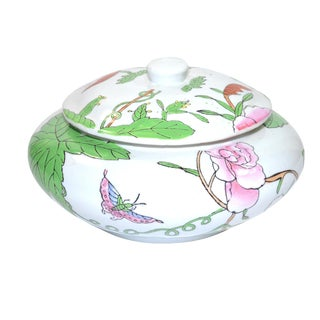 Vintage Ceramic Butterfly Ginger Jar For Sale