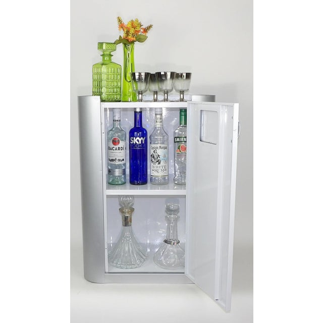 Bar Cart - Gray White Cabinet Wine Barware Storage For Sale - Image 4 of 11