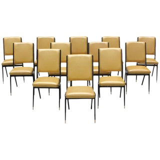 Stunning Set of 12 French Art Deco Dining Chairs, Circa 1940s