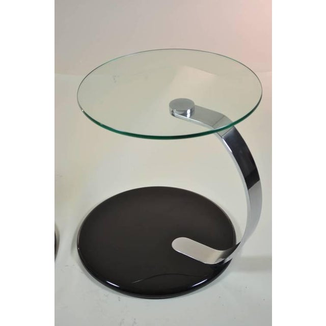 Pair of Modernist Chrome and Glass Tables For Sale In New York - Image 6 of 10