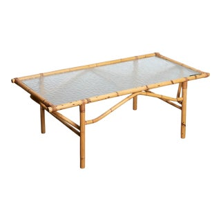 1960s Bamboo Coffee Table With Glass For Sale