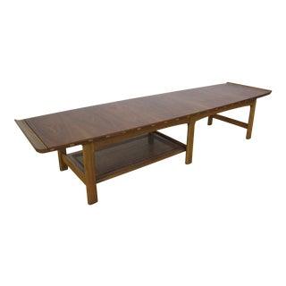 1960s Mid Century Modern Lane Furniture Walnut Surfboard Coffee Table For Sale