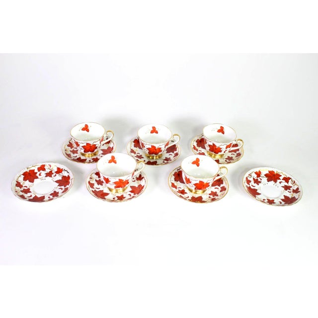 Set of 5 Royal Chelsea English Bone China tea cups and saucers. 2 dessert dishes added as a bonus. Motifs of rust red...