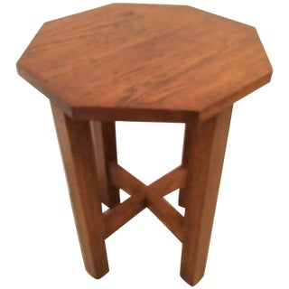 Mission Style 19th Century Oak Octagonal Small Side Drinks Table For Sale