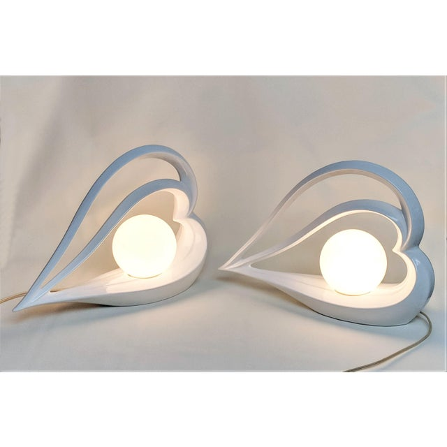Deco Revival Ceramic Heart Shaped Table Lamps - a Pair For Sale - Image 4 of 13