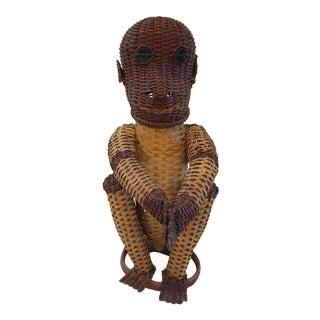 Vintage Wicker Figural Monkey Basket For Sale