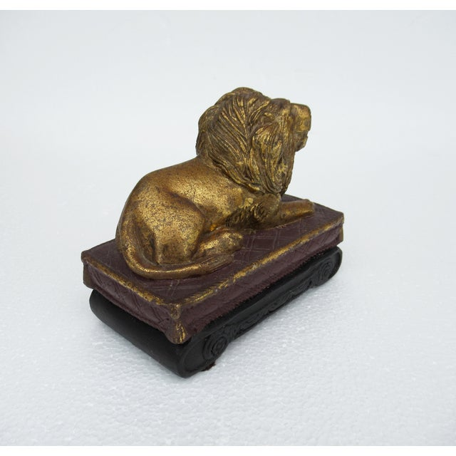 C.1980s Gilt Carved Lion Accent Piece / Paperweight on Attached Pedestal Scroll Base For Sale In West Palm - Image 6 of 13