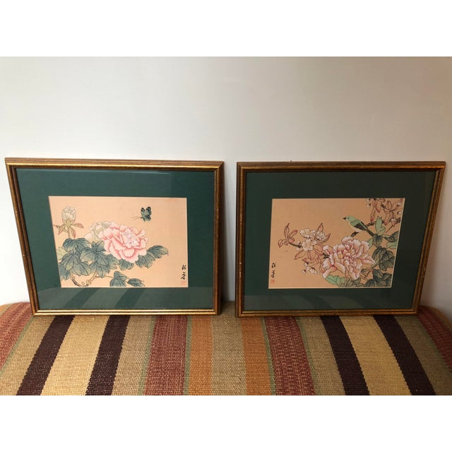 1940s Vintage Chinese Floral Watercolor Paintings - A Pair For Sale - Image 11 of 11