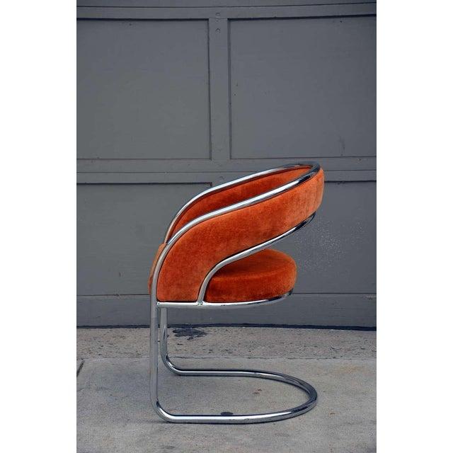 Unique 70's Orange Velvet and Chrome Armchair For Sale - Image 4 of 8