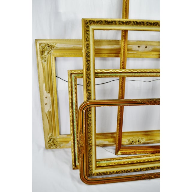 Vintage Large Wood Picture Frames - Group of 5 Condition consistent with age and history. Some nicks, scratches and loss...