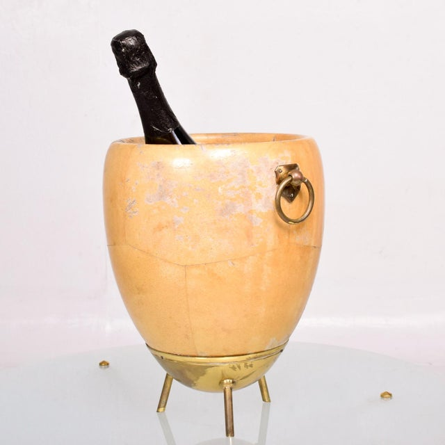 For your consideration a vintage Aldo Tura Macabo Gusano goatskin and brass ice/champagne bucket. Made in Italy, circa...