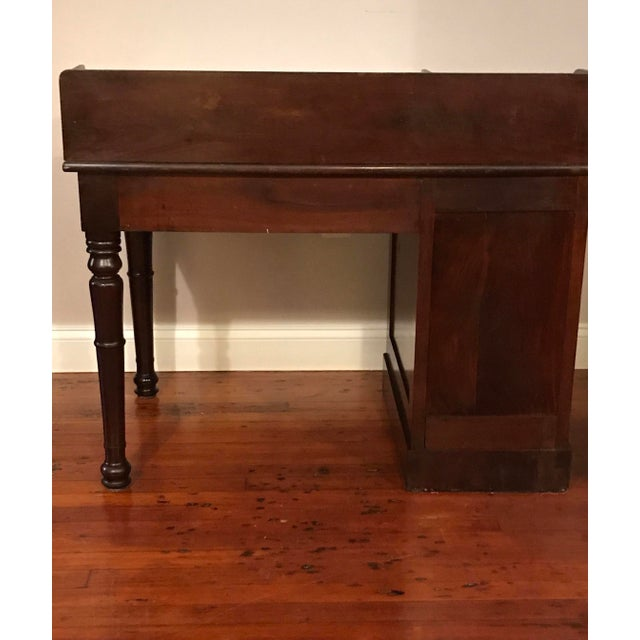 Traditional Victorian Burly Walnut Lift Top Desk, Side Drawers Turned Legs For Sale - Image 3 of 10
