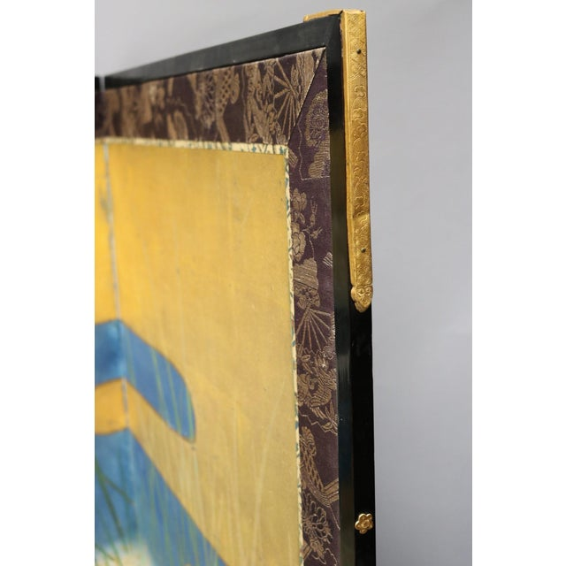 Six Panel Blue and Gold Crane Scene Japanese Screen For Sale In Los Angeles - Image 6 of 7