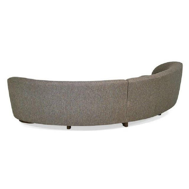 """Vladimir Kagan """"Sloane"""" sofa. Two piece curved sectional with wood legs."""