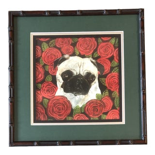 Contemporary Pug in Roses Dog Print by Judy Henn For Sale