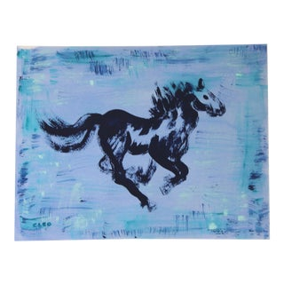 Minimalist Horse in Indigo by Cleo Plowden For Sale