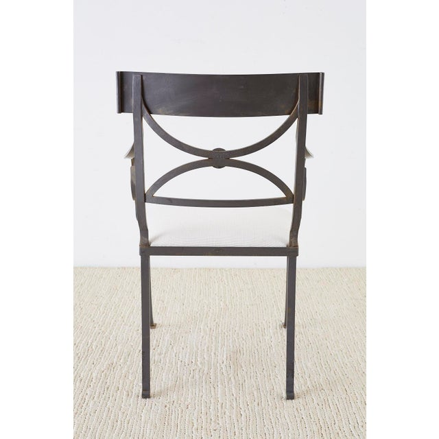 Set of Four Regency Style Iron Garden Patio Chairs For Sale - Image 12 of 13