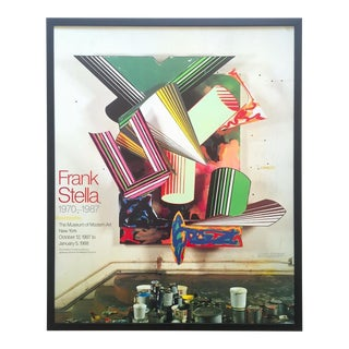 Frank Stella Rare Vintage 1987 Lithograph Photo Print Framed Museum of Modern Art Collector's Exhibition Poster For Sale