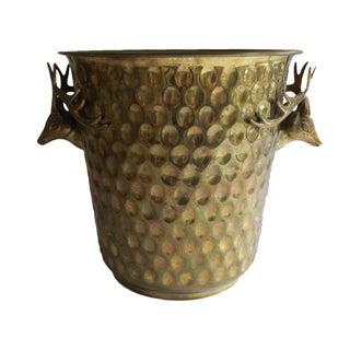 Vintage Gold Brass Deer Reindeer Head Antler Champagne Ice Bucket