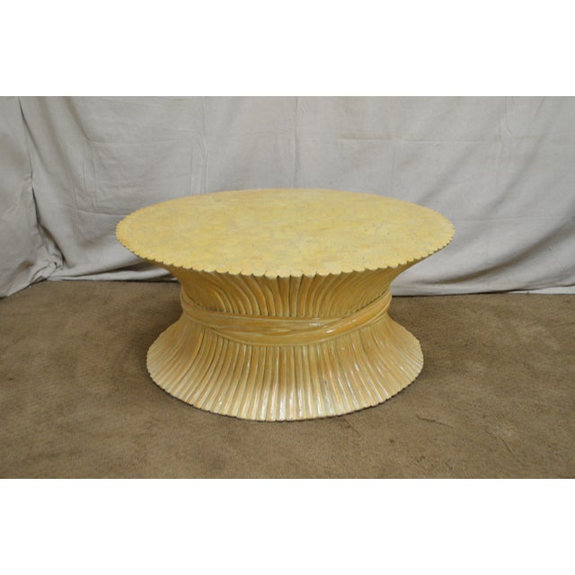 McGuire Style Mid Century Modern Round Wheat Sheaf Rattan Coffee Table - Image 12 of 13