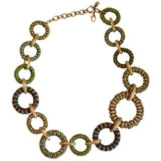 Francoise Montague Shades of Green Swarovski Crystal Shangri-La Necklace For Sale