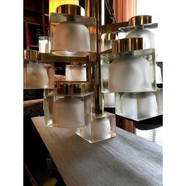 Brass Large Gaetano Sciolari 13 Frosted Cube Brass Chandelier For Sale - Image 7 of 11