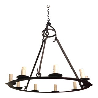 Vintage Designer Old World Spanish Colonial Wrought Iron Chandelier For Sale