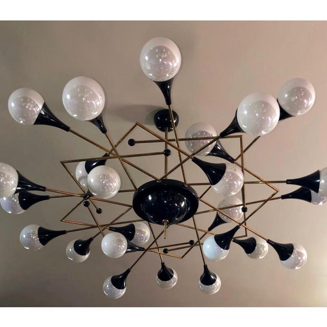 Not Yet Made - Made To Order Bespoke Italian Geometric White Glass Black Lacquered Brass 24-Light Flushmount For Sale - Image 5 of 9