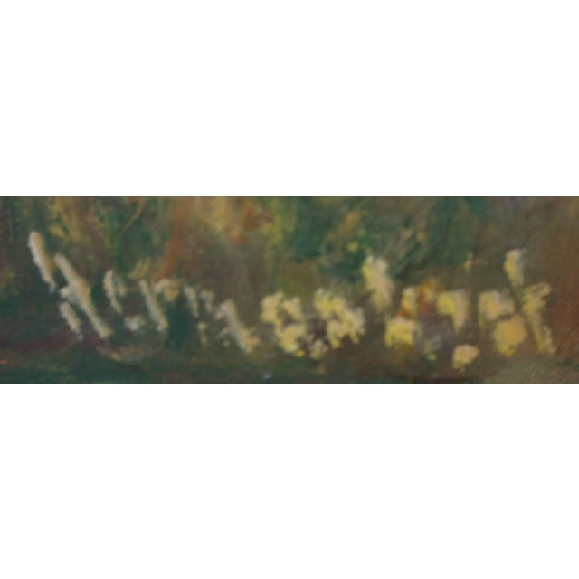 "Canvas ""The Garden"" Oil on Canvas: Herman Lipot, Hungary, 20th Century For Sale - Image 7 of 10"