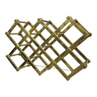 Vintage Brass Mid-Century Modern Folding Italian Wine Rack Bottle Holder For Sale