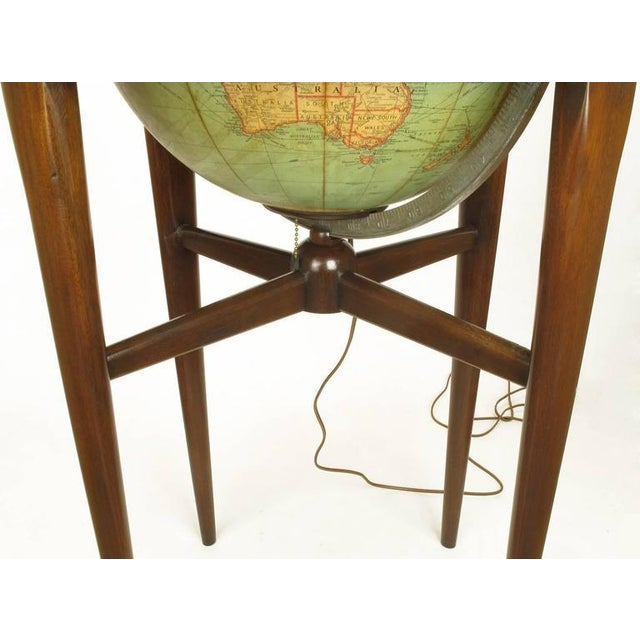 Replogle Illuminated Glass Globe on Mahogany Articulated Stand, circa 1940s - Image 9 of 10