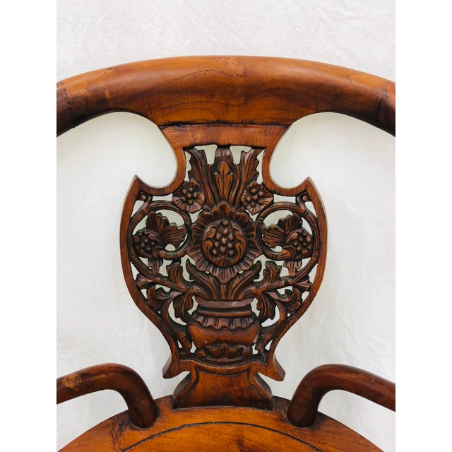 Brown Pair Antique Carved Arm Chairs For Sale - Image 8 of 13