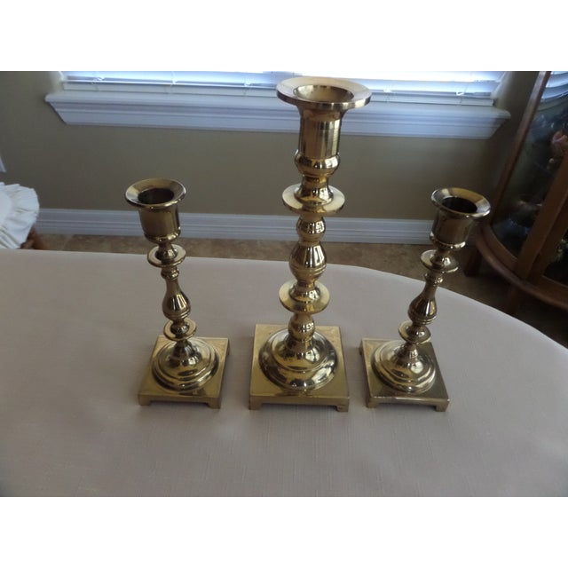 Modern Vintage Solid Brass Candlestick Holders With a Footed Base - Set of 3 For Sale - Image 3 of 11