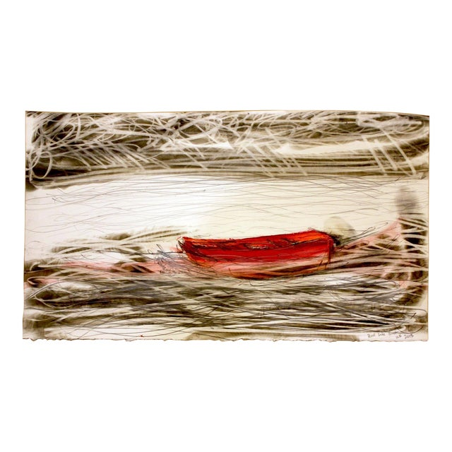 """Wayne Zebzda """"Red Life Boat"""" Carbon Smoke Acrylic Drawing on Paper For Sale"""