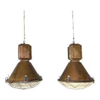 Pair Mid-Century Industrial Overhead Lights For Sale