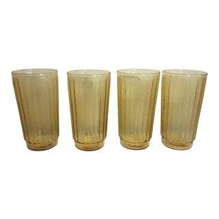 1970s Vintage Amber Drinking Glasses - Set of 4 For Sale