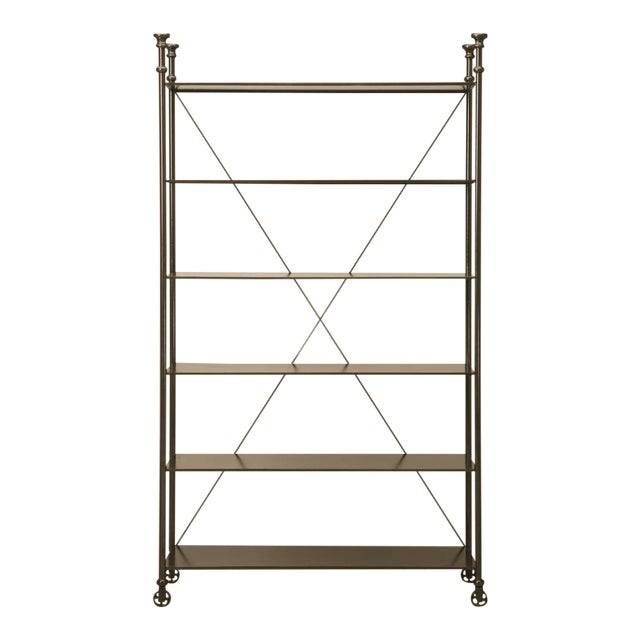 Industrial Style Etagere in Steel and Bronze For Sale