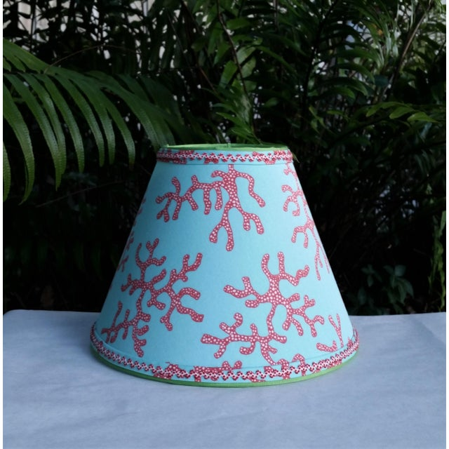 Metal Lilly Pulitzer Fabric Lampshade Blue Red Clip On For Sale - Image 7 of 11