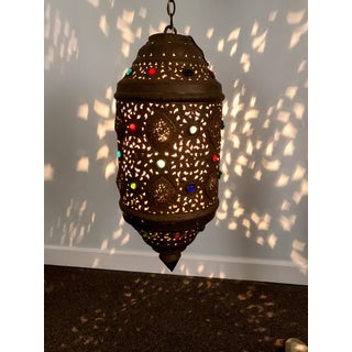 Vintage Moorish Moroccan Multi Colored Large Lantern Chandelier Preview