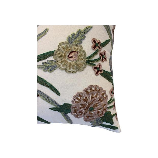 Pair of custom pillows made with a vintage crewelwork textile, purchased in England. New linen backs, zipper closures....